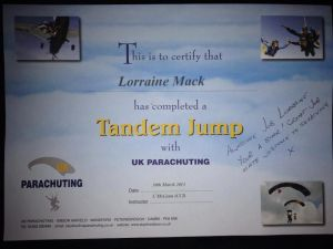 LOLLY SKYDIVE CERTIFICATE