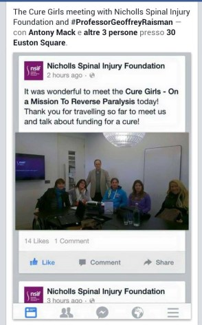 The Cure Girls meet with Prof Raisman and Nicholls Spinal Injury Foundation social